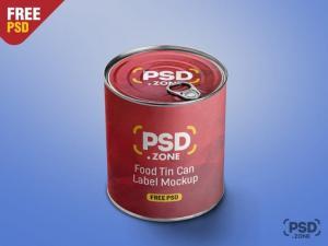 Food Tin Can Label PSD – Free Mockup