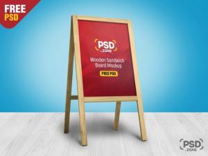 Wooden Sandwich Board – Free PSD Mockup
