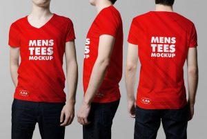 Realistic Men's V-Neck T-Shirt Model – Free Mockup