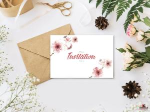 Invitation Wedding with Floral – Free PSD Mockup