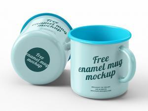 2 Enamel Mugs Free Mockup