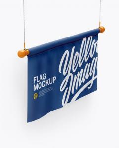 Half side view of Flag Free Mockup
