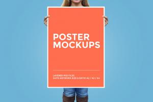 Girl Holding Poster Free Mockup