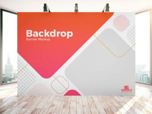 Indoor Advertisement Backdrop Banner – Free Mockup