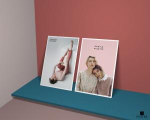 Modern Branding Vertical Standing Posters Free Mockup