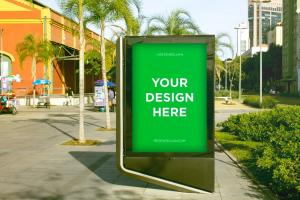 Outdoor Kiosk Advertisement Free Mockup