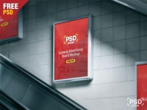 Subway Advertising Board Free Mockup