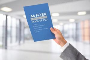 A4 Flyer in Male Hand Free Mockup