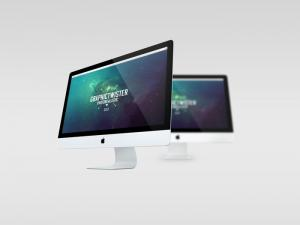 Double iMac Free Mockup