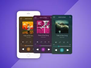 Music Player UI Free Mockup & Illustrator File