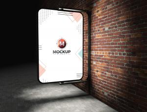 Street Billboard on Bricks Wall (Night) Free Mockup