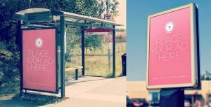 Realistic Bus Billboard Free Mockup