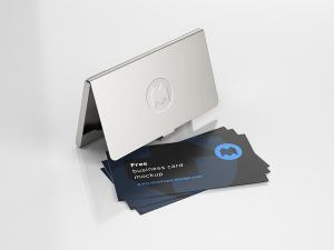 Business Card Holder Free Mockup