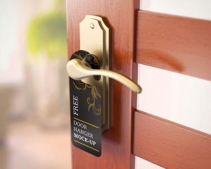 Realistic Door Hanger Free Mockup