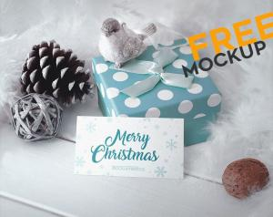 Business Card in Christmas Scenery – Free Mockup