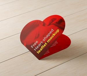 Heart shaped leaflet – Free Mockup