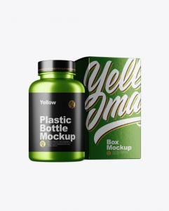 Realistic Free Metallc Bottle Mockup