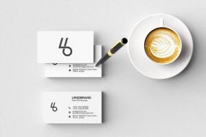 Minimal Business Card with Coffee Free Mockup
