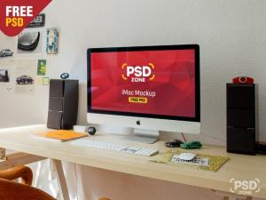 iMac Workstation Mockup Free