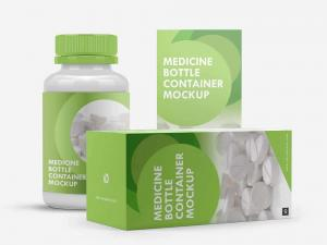 Medicine Bottle Container Packaging Free Mockup