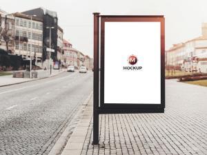 Billboard Banner in Street Free Mockup