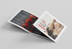 Square Tri-Fold Brochure & Magazine Free Mockup