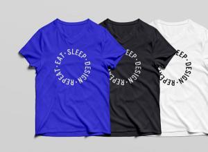 V-Neck T-Shirt Free Mockup
