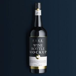 Wine Bottle Close View – Free Mockup