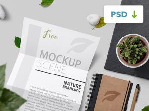 Free Nature Branding Mockup Scene