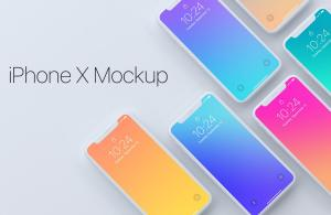 Top View of iPhone X Devices Free Mockups