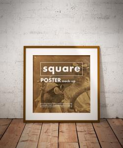 Square Poster Frame Free Mockup