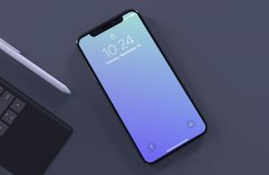 Top view of iPhone X Free Mockup