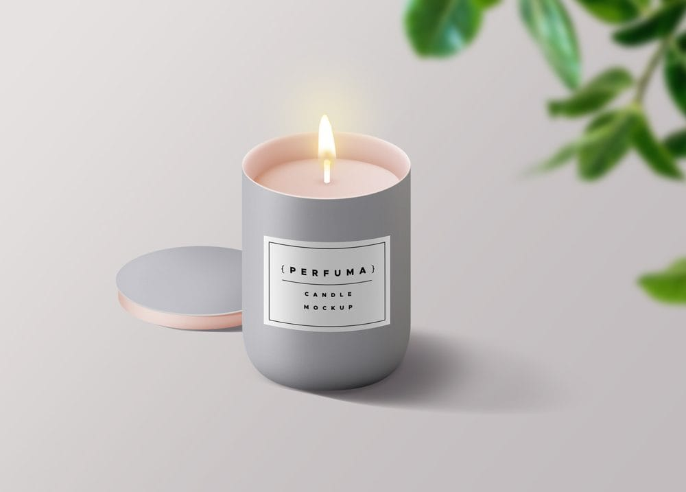 Burning Candle Free Mockup