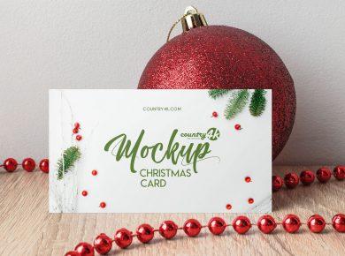 Free Christmas Card Mock-up