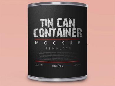 Free Cylindrical Tin Container Mockup