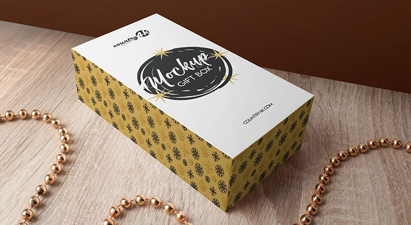 Free Gift Box Packaging Mock-up