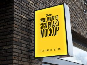 Free Outdoor Advertising Wall Mounted Sign Mockup