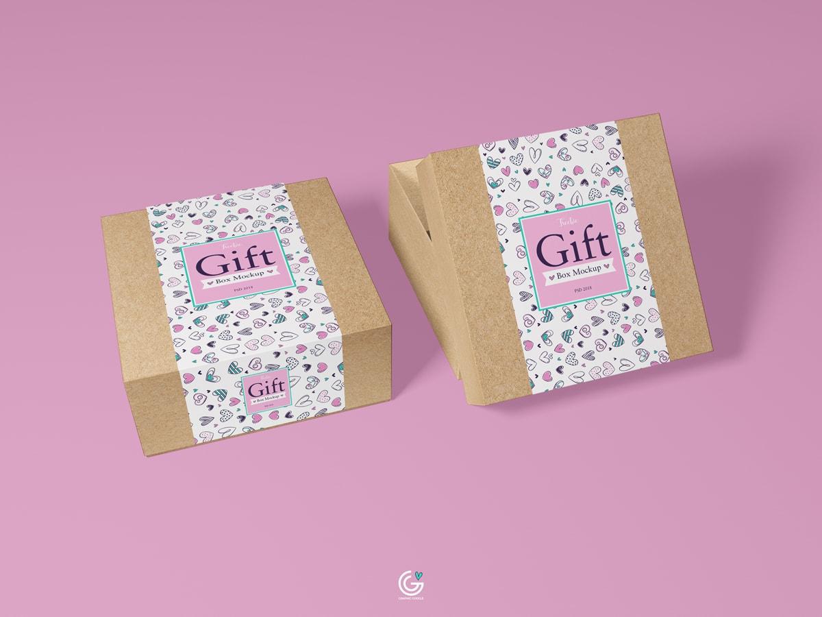 Free Packaging Craft Paper Gift Box Mockup