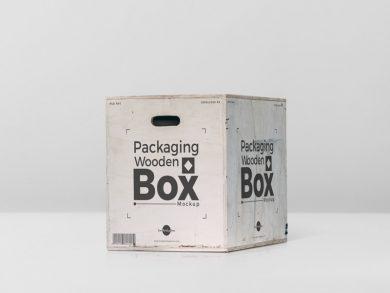 Free Packaging Wooden Box Mockup