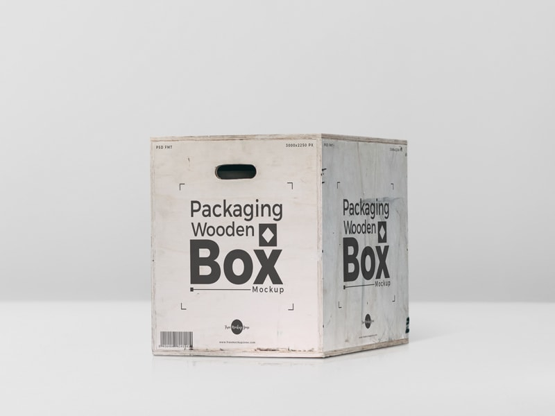 Free Packaging Wooden Box Mockup