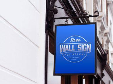 Free Wall Mounted Shop Sign Mockup