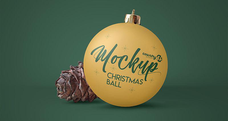 Free Christmas Ball Mockup