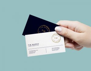 Hand Holding Business Cards Free Mockup