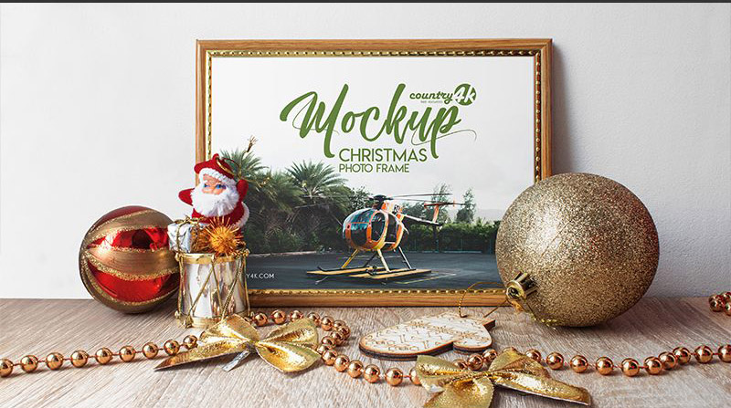 Free Christmas Photo Frame Mockup