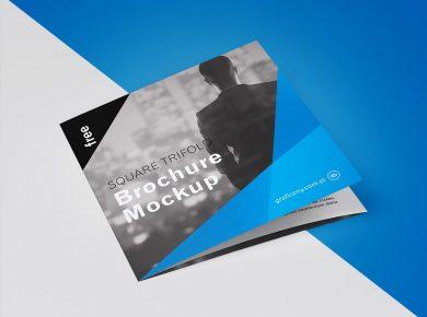 Square 3 Panel Brochure Free Mockup
