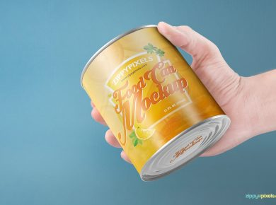 Free Food Can Mockup For Product Packaging Designs