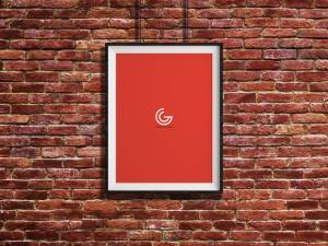 Bricks Wall Hanging Poster Free Mockup