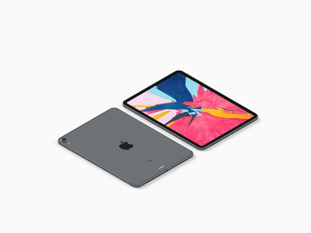 Isometric iPad Pro Free Mockup