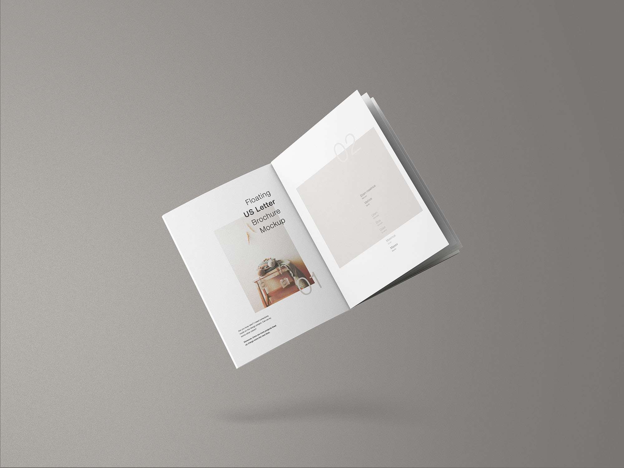 Floating US Letter Brochure Free Mockup