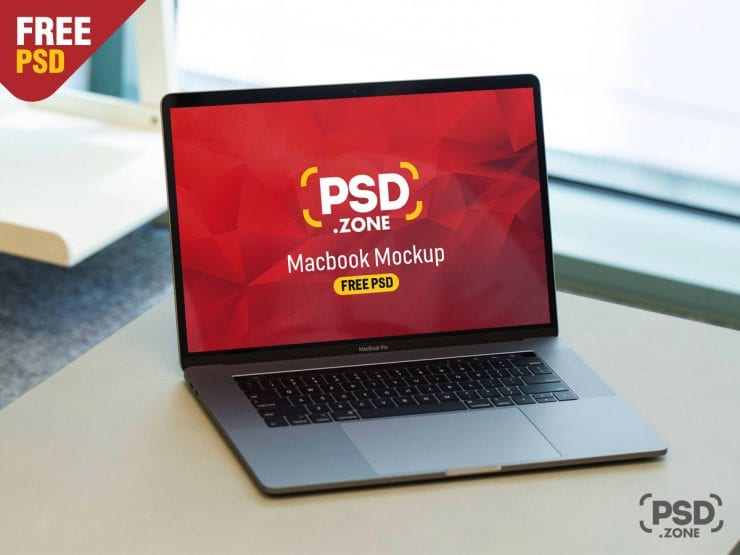 MacBook Pro on Wooden Desk Free Mockup